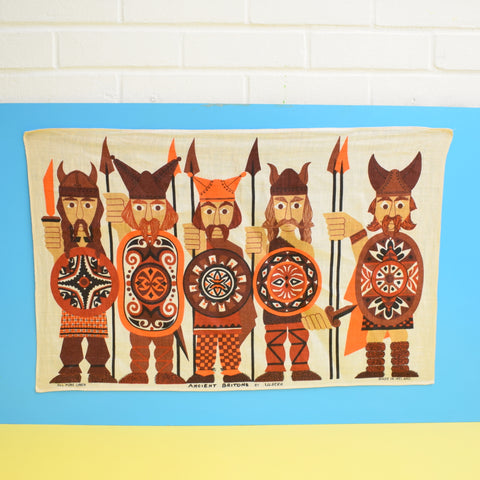 Vintage 1960s Cotton Tea Towel - Viking Design - Ancient Britons - Orange & Brown