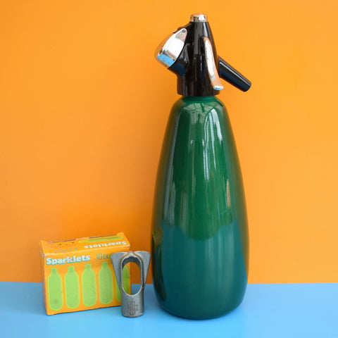 Vintage 1960s Soda Syphon, Bulbs & Key - Emerald Green