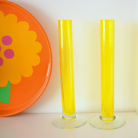 Vintage 1970s Glass Bud Cylinder Vase Pair - Yellow