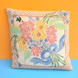 Vintage 1960s Small Tapestry Cushion - Pretty Floral