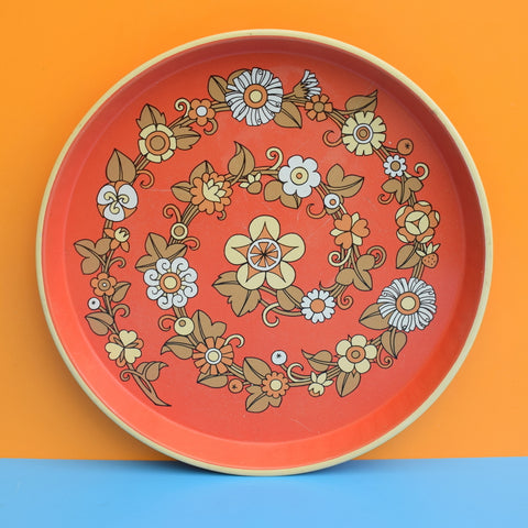 Vintage 1960s Round Tray - Flower Design - Brick Red
