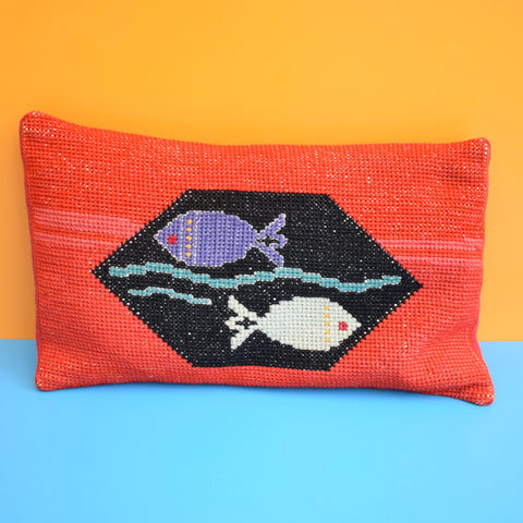 Vintage 1960s Small Tapestry Cushion - Fish Tank