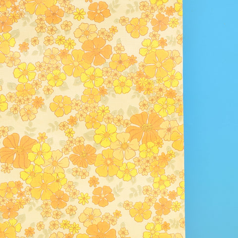 Vintage 1960s Vinyl Wallpaper - Orange Flower Power