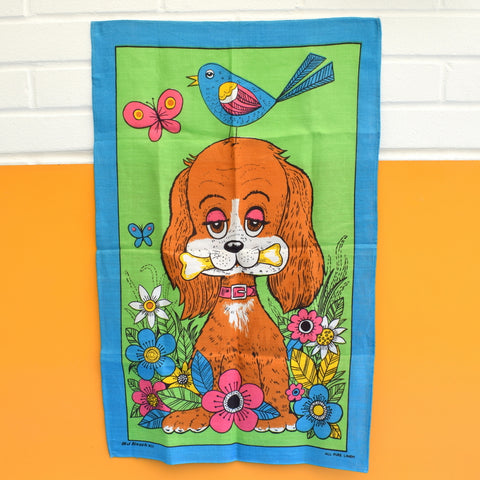 Vintage 1960s Tea Towel - Flower Power Dog - Mamlok Style