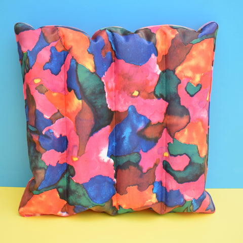Vintage 1960s Vinyl Inflatable Pillow - Ideal Beach Use - Pink Splodge Flower Design