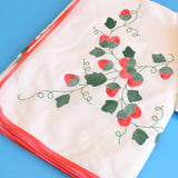Vintage 1960s Embroidered Strawberry Tablecloth / Napkins