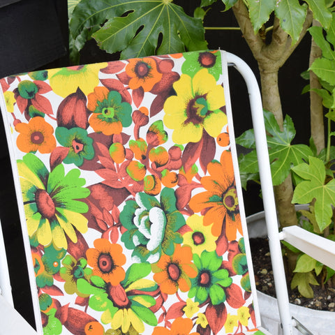 Vintage 1960s Folding Garden Chair - Flower Power - Orange / Green