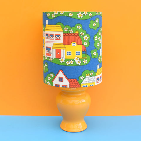 Vintage 1960s Mini Ceramic Table Lamp - Daisy Walk Shade