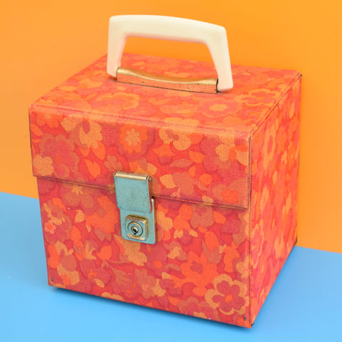 Vintage 1960s Smaller Record / Vinyl Case - Orange Flower Power