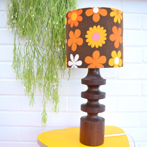 Vintage 1970s Teak Turned Table Lamp - Flower Power Shade, Orange & Brown