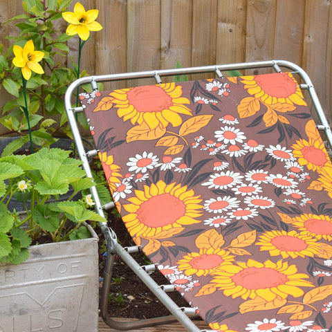 Vintage 1970s Garden Sun Lounger - Orange & Brown Flower Power