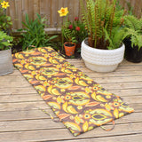 Vintage 1960s Padded Long Folding Cushion - Yellow & Orange Psychedelic Flower Power