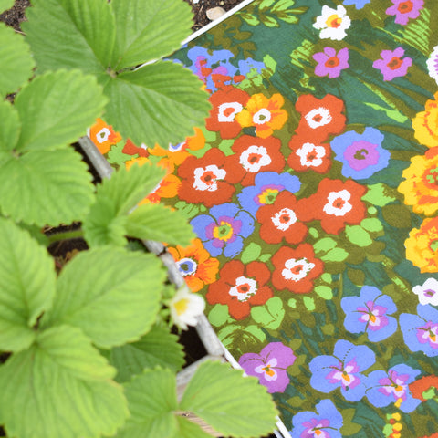 Vintage 1970s Padded Long Cushion / Mattress - Bright Brush Flower Power