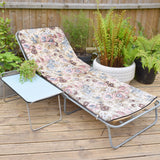 Vintage 1970s Garden Sun Lounger / Matching Table - Lilac & Pale Blue Flowers
