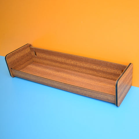 Vintage 1960s Plastic Display Shelf - Wood Effect - Brown