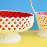 Vintage 1960s Dialene - Plastic Planters / Containers - Red & White