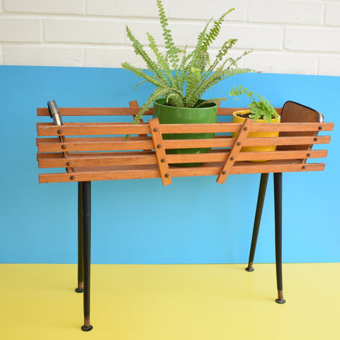 Vintage 1950s Standard Long Teak Planter - Screw In Legs