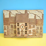 Vintage Large Ceramic Wall Art - Street Of Houses