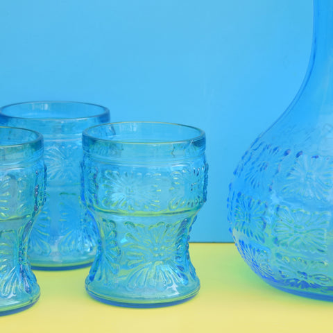 Vintage 1960s Glass Jug & Glass Set - Turquoise Blue Textured Glass