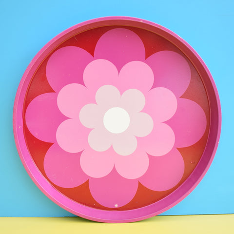 Vintage 1960s Round Tray - Flower Power Design - Pink
