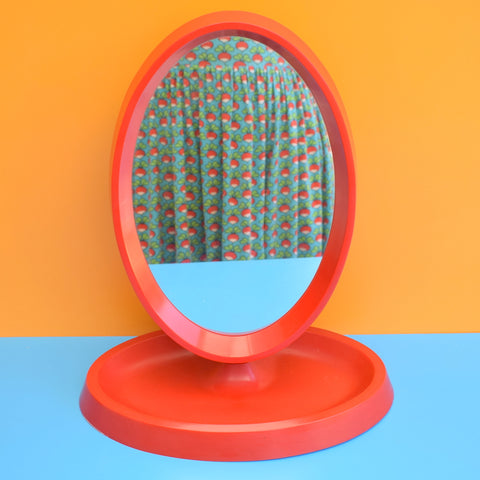 Vintage 1970s Plastic Dressing Table Mirror - Red