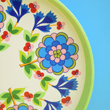 Vintage 1960s Round Tray - Flower Power Design - Green / Blue