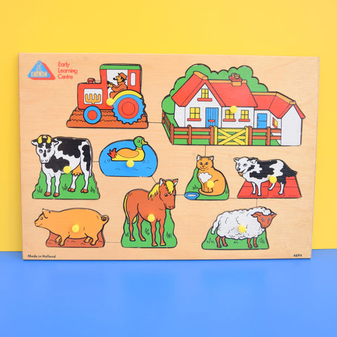 Vintage 1970s Wooden Jigsaw Peg Puzzle - by Early Learning Centre - Farm Animals