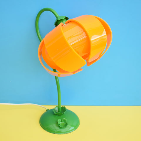 Vintage Metal Flower Lamp & Perspex Lotus Flower Shade - Orange & Green.