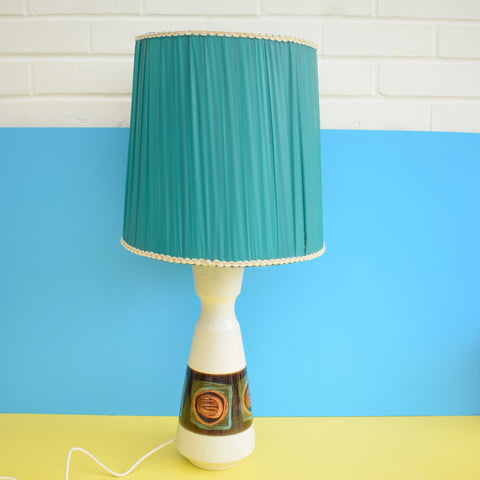 Vintage 1960s West German Large Table Lamp - 1960s Shade- Turquoise