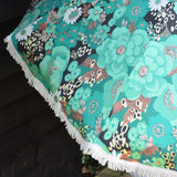 Vintage 1960s Large Parasol - Green / Turquoise Flower Power