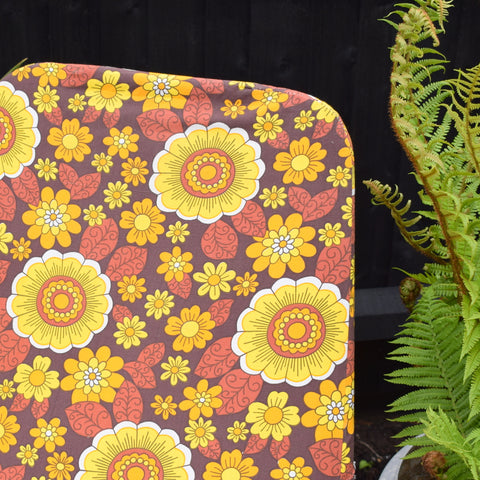 Vintage 1960s Garden Sun Lounger - Yellow & Orange Flower Power Print