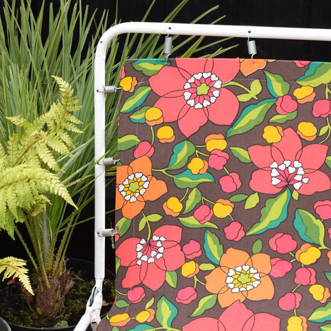 Vintage 1970s Garden Sun Lounger - Pink & Orange Flower Power Print