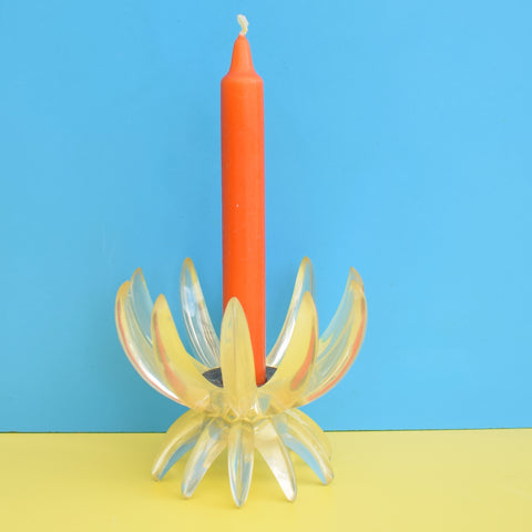 Vintage 1960s Plastic Spike Candle Holder - Clear & Orange Candle