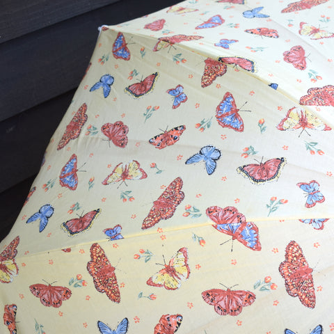 Vintage 1970s Folding Clip On Garden Parasol - Butterfly Print