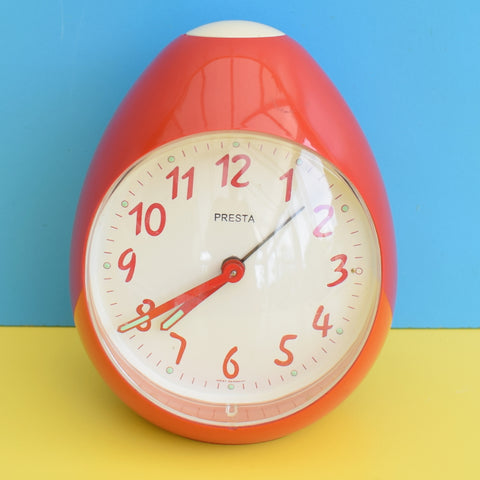 Vintage 1970s Egg Shaped Plastic Alarm Clock - Red