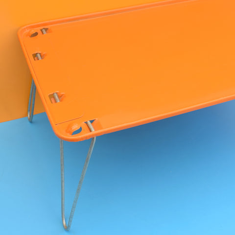 Vintage 1970s Folding Low Tables - Metal - Orange