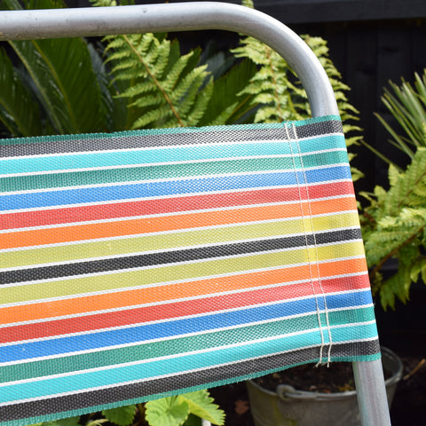 Vintage Striped 1960s Folding Garden Chairs - Rainbow Stripe