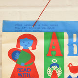 Vintage 1970s Vinyl Wall Hanging - Mothercare - Read With Mother - Red & Blue
