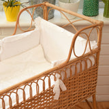 Vintage 1970s Wicker Baby Crib With Bedding