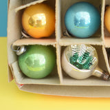Vintage 1950s Small Glass Christmas Baubles / Decorations - Blue, Gold, Green (Boxed)