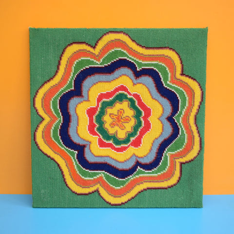 Vintage 1970s Tapestry Picture - Flower Power
