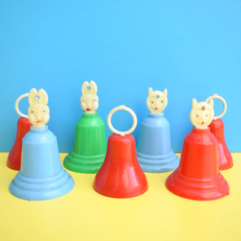 Vintage 1960s Kitsch Plastic Bell Decorations x 7 - Animal Heads