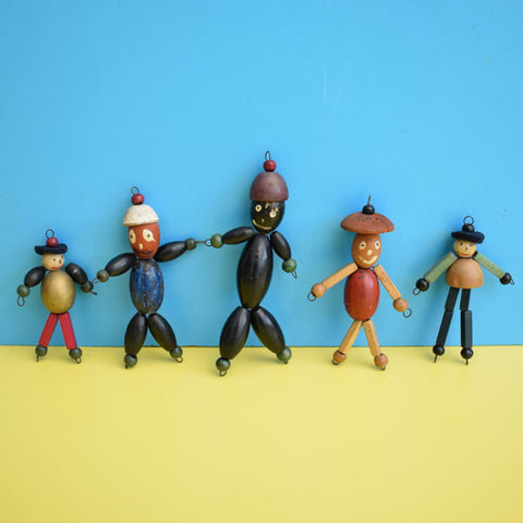 Vintage 1950s Kitsch Wooden People Decorations x5 - Beads