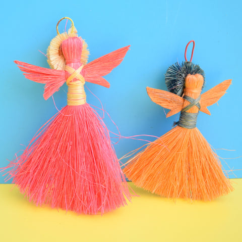 Vintage 1960s Kitsch Thread Angel Decorations x2 - Pink & Orange