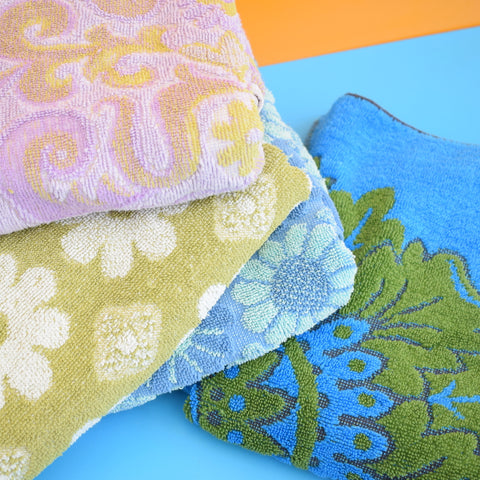 Vintage 1960s Cotton Flower Power Towels - Various