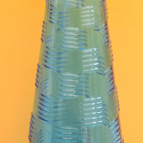 Vintage 1960s Italian Glass Genie Bottle - Turquoise