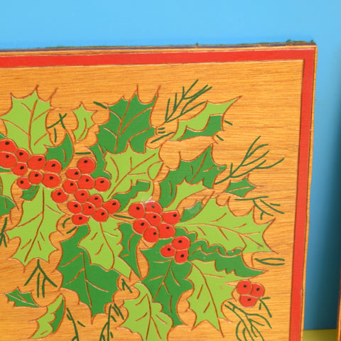 Vintage 1960s Wooden Christmas Place Mats x6 / Pan Stands - Holly