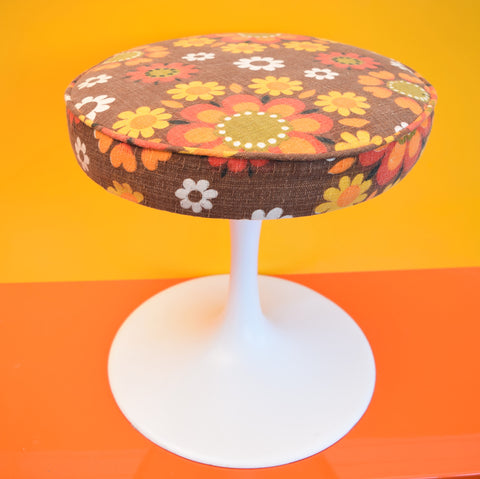 Vintage 1960s Tulip Based Stool - Upholstered in 1960s Flower Power Fabric, Orange