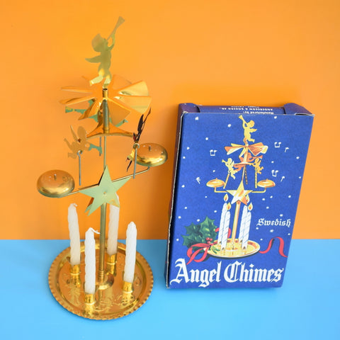 Vintage Boxed 1970s Swedish Angel Chimes With Candles