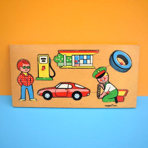 Vintage 1970s Wooden Jigsaw Puzzle - Simplex - Car / Mechanic